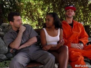Fascinating Ebony Chick Getting Nailed By Two Horny White Dudes