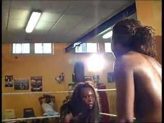 Sweaty Erotic Ebony Catfight/Wrestling