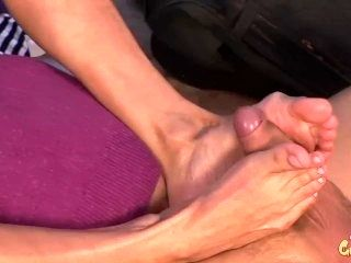 Petite Barely Legal Blonde Gets Amazing Foot Job to Huge Cock
