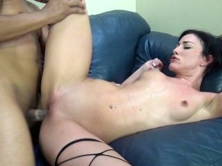 Brunette Porn Star Has Her Shaved Pussy Fucked In Interracial Porn
