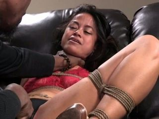 Black BDSM dude gives hard core fuck lesson to bound sexy chick Chillycarlita who sits on leather sofa