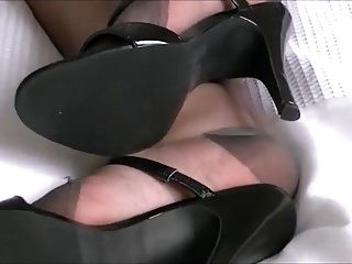 Black Mules And Stockings