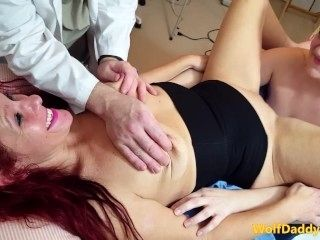 Doctor and Nurse treat Housewife with Fuck machine therapy