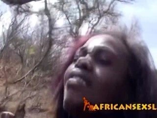 African Teen Abused By Horny White Stud Outdoors (2)