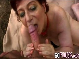 Slutty Redhead Granny Big Cock Outdoor Blowjob (2)