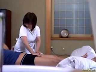 Busty Asian Mature Likes Fucking Her Clients on the Massage Bed
