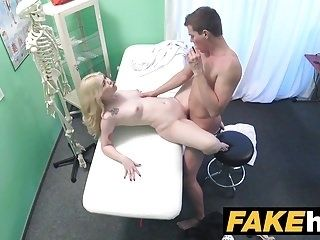 Fake Hospital Fit blonde sucks cock so doctor gives her tits