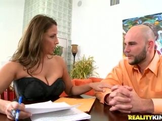 Big Boob Boss Stacie Starr Enjoying an Employee's Big Dick in the Office