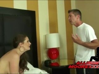 Sexy MILF Allison Moore takes on 2 cocks and her husband DP fun