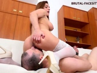 Curvy Mistress Sits On Her Slave And Makes Him Lick (2)