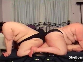 The BBWs facesit in panties while playing with his cock