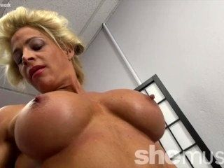 Muscular Tattooed Blonde With Big Tits