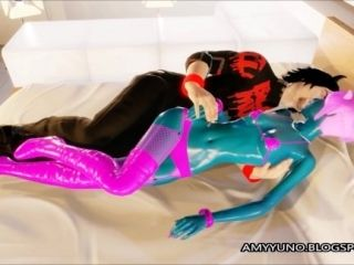 3D Blue Alien Girl With Small Tits Blows And Fucks! (2)