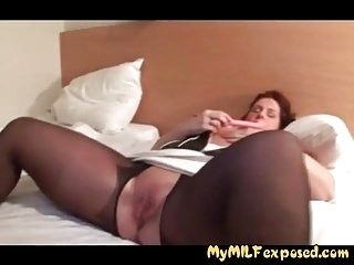 My MILF exposed Crotchless stockings wife with toys