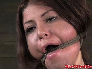 Spread hogtied Mia Gold tongue clamped