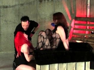 Couple Tortured Brunette Sub In Dungeon Bdsm Toy