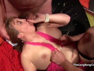 Trio of older blondes at the British amateur orgy