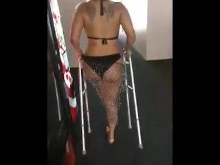 One Leg Woman On Walker