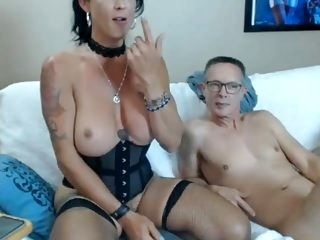 Busty Tranny Take Turns in Cock Sucking with Lover (2)