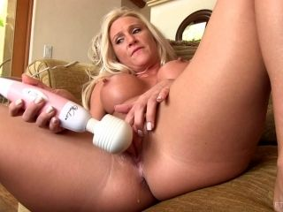 Moans as fake tits Alexis pleasure her pussy using vibrator