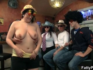 Boozed Chubby Party Girl Getting Naked In The Bar (2)