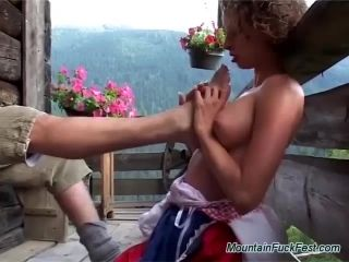 Crazy German Teen Loves Extreme Deepthroat And Anal Sex In The Mountains