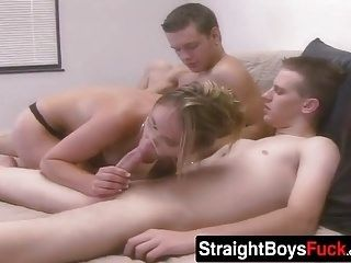 Hot Blonde Chick Gets Railed Doggystyle In This Threesome (3)