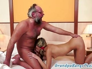 Cockriding Euro Pleased By Old Mans Dick  (5)