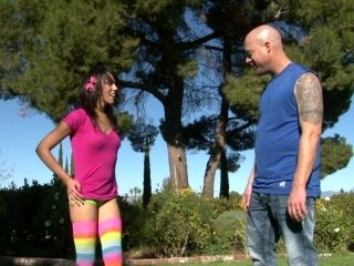 Sunny Day Sex In The Park With A Cute Teen In Rainbow Socks (2)