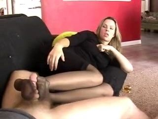 Pantyhosed Footjob And Cum