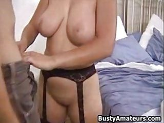 Busty amateur milf Serena blows cock and getting rammed