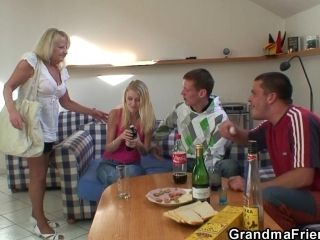 Two Partying Guys Screw Drunk Blonde Granny (2)