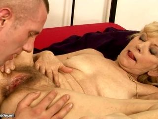 Perverse Young Dude Enjoys Eating Bearded Snatch Of Steamy Granny