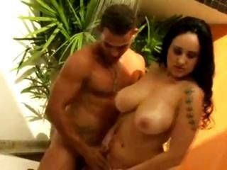 Hot, busty brunette Brazilian BBW Lorena gets nailed and blows