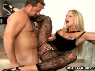 Sexy Blond Cougar In Nylons Gets So Wet