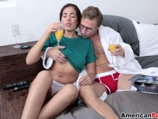 Gorgeous April O'Neil gives a blowjob then rides like a cowgirl (2)