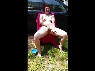 Shaving and masturbating in the drive way part II