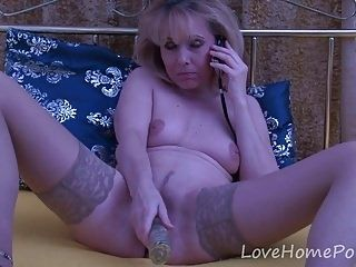 Mature Blonde In Stockings Enjoys Her Masturbation Session (8)