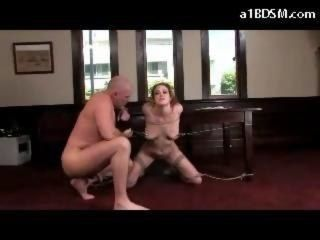 Busty Redhead Tied To Desk Nipples Tortured Pussy Stimulated With Vibrator Sucking Cum To Mouth In The Office