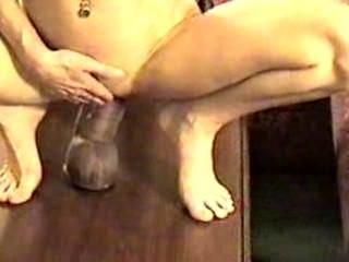 Abbey Blonde with huge black dildo