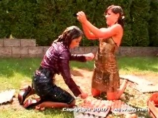 Samantha Wow In Sticky, Messy Egg Fight. Lesbians Fighting