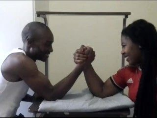 Mixed Armwrestling Ebony Muscle Lady Vs Weak Husband Wth Special End