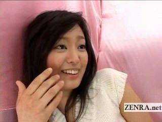 Bizarre Japanese CFNM with a shy amateur penis toucher (2)