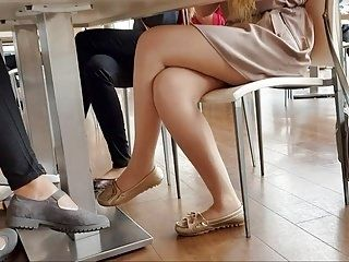 Sexy Girl In Shiny Tan Pantyhose(She Shows Ripped Pantyhose)