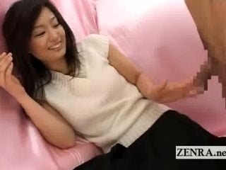 Bizarre Japanese CFNM with a shy amateur penis toucher (3)