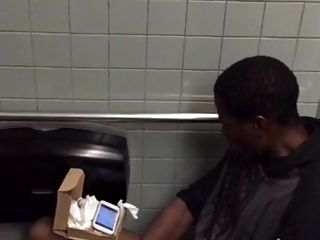 Caught Black Man With Big Dick Jerking In Restroom