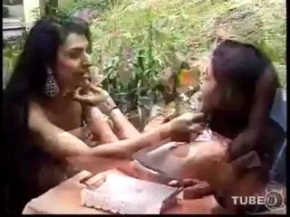 Outdoor hot sex between chick and shemale
