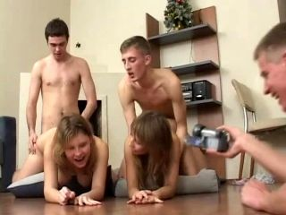 Hot Teen FFMM Foursome Group Sex Scene