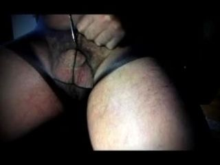 Tranny Shermale In Bodystocking And Cock Sounding Urethral Cock Toy