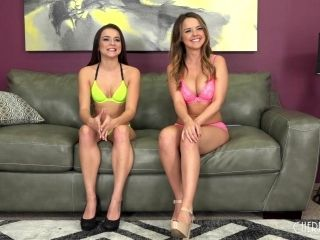 Naked Ladies Spread Their Legs On The Couch And Vibrate Their Clits